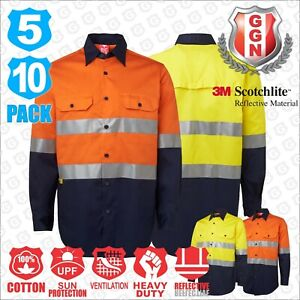 HI-VIS-Shirts-5-10-PACK-SAFETY-WORK-Wear-COTTON-DRILL-LONG-3M-Tape-Back-Vents