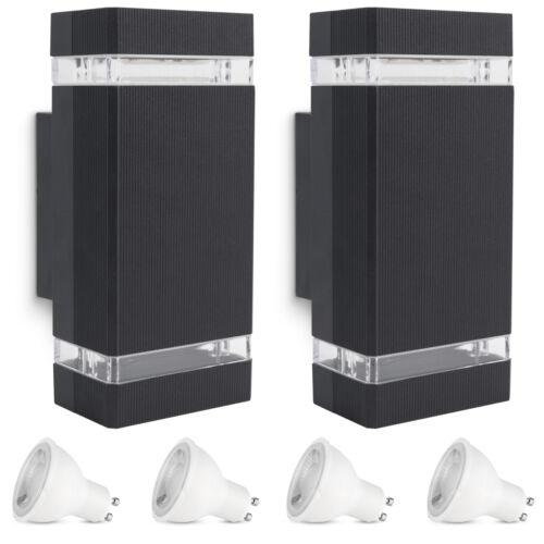 2 Stück LED Außen Wandleuchte SELA schwarz Up Down IP54 mit LED GU10 3W warmweiß