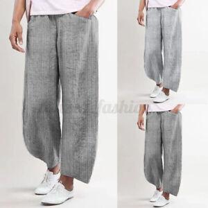 100-coton-ZANZEA-Femme-Pantalons-Long-Rayure-Taille-elastique-Jambe-Large-Plus
