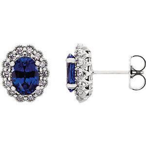 Chatham-Kuenstlicher-Blauer-Saphir-amp-3-8-Karat-Diamant-Ohrringe-in-Platin