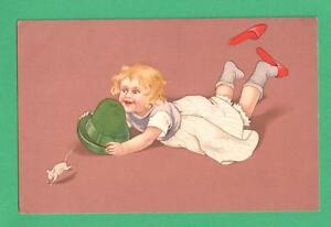 1911 MEISSNER & BUCH ART POSTCARD GIRL TRIES TO TRAP MOUSE WITH HAT SHOES FLY!