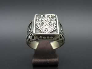 M417-Alter-034-Osmanischer-034-Herren-Siegel-Ring-925-Silber-Siegelring-Gr-64