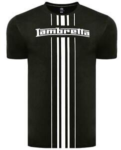 Lambretta-Hommes-Classique-Rayure-Mod-Ska-Scooter-T-Shirt-Noir