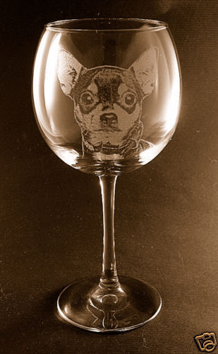 New Set of 2 Etched Chihuahua on Large Elegant Wine Glasses