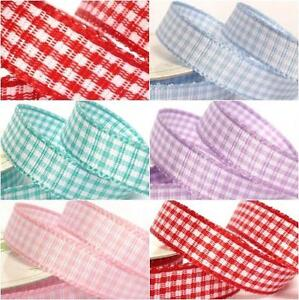Various Colours Available 3m Gingham Check Ribbon 10mm
