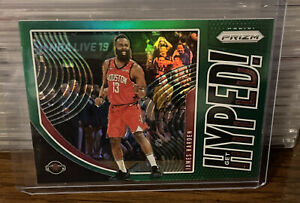 2019 - 2020 Panini Prizm James Harden Get Hyped Green Insert #5 Houston Rockets