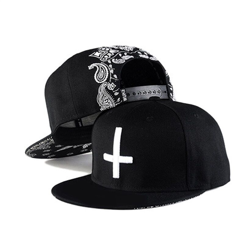 Inverted Cross Flat Brim Snapback Cap Hip Hop Bandana Paisley