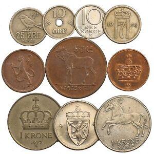 LOT-OF-10-MIXED-NORWAY-COINS-NORWEGIAN-ORE-KRONER-SCANDINAVIAN-1958-2018