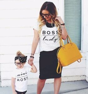 Details About Boss Lady And Mini Boss Matching T Shirts Mother Daughter Son Christmas Gift 63