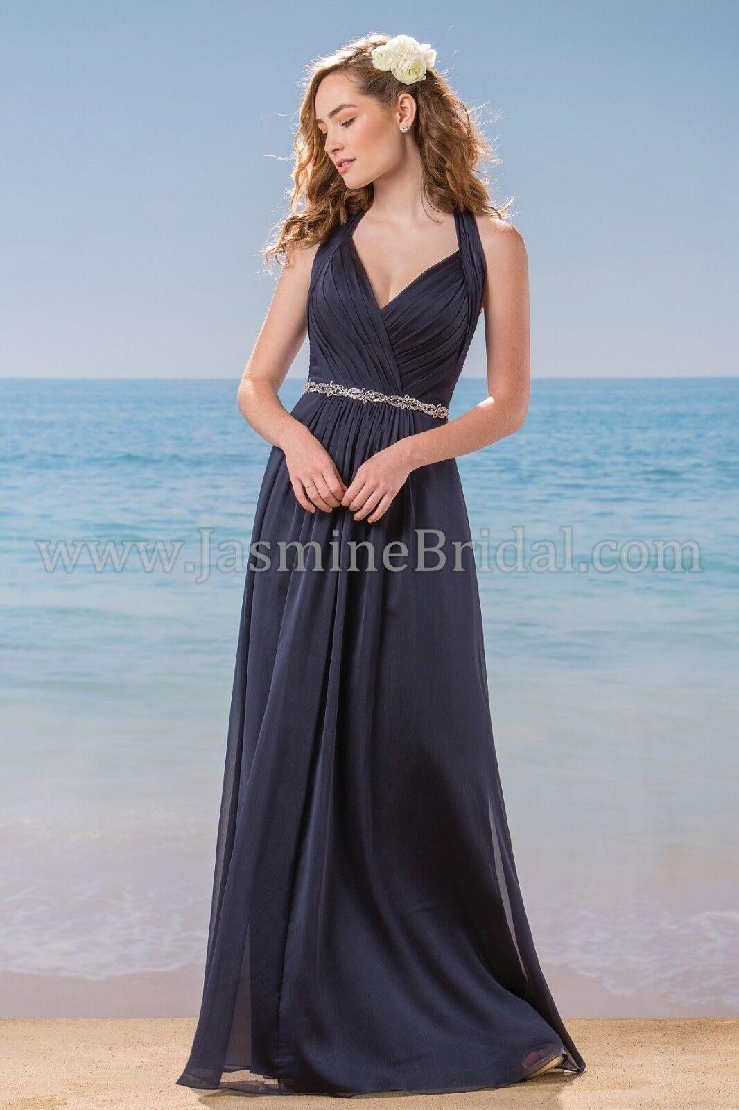 Jasmine Belsoie Navy Long Chiffon Dress w/Beaded Waist, Formal, Size 10, New