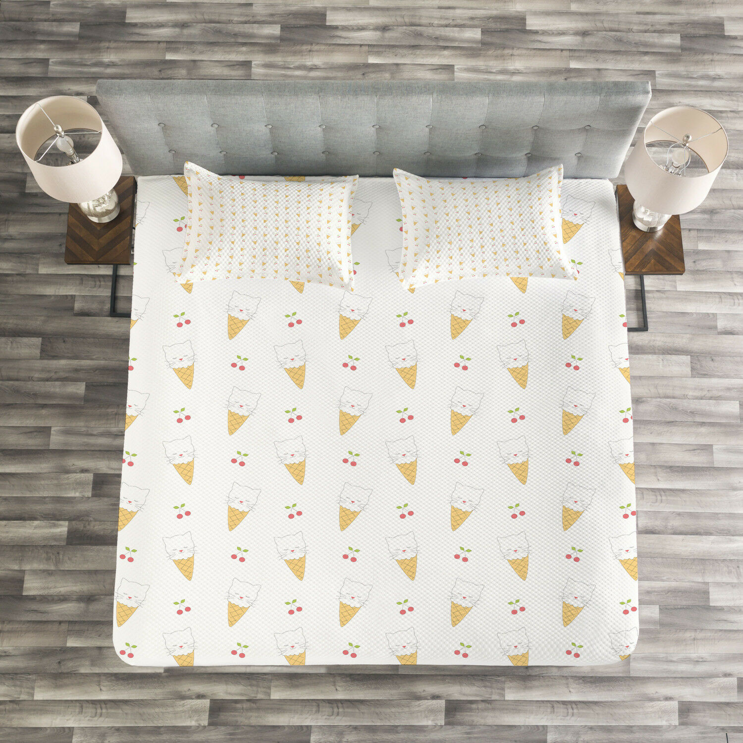 Ice Cream Quilted Bedspread & Pillow Shams Set, Kitty Cones Print