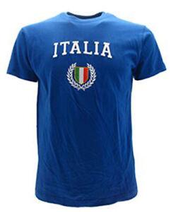 T-shirt-italia-azzurra-con-scritta-e-stemma-ricamati-effetto-3D-azzurri-blu
