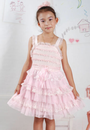 New Summer Girls Flower Party Dress in Pale Yellow Pink From 2-3 3-4 4-5 Years