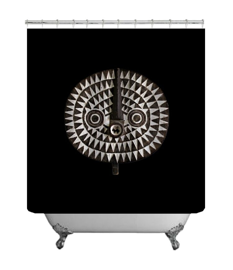 SHOWER CURTAIN w EXCLUSIVE AFRICAN DESIGN  Bobo Bwa Sun Mask