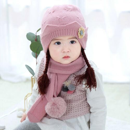 Kids Hats Scarves Girls Boys Hat Bobble Hat Scarf Fleece Warm Set Winter NEW UK