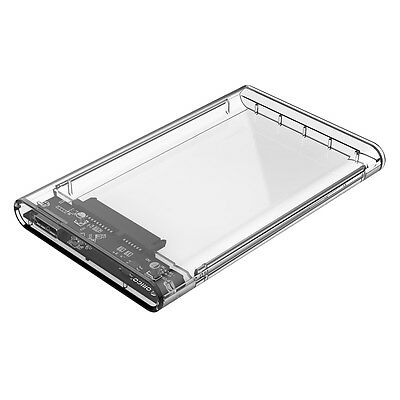 "ORICO Transparent 2.5"" USB3.0 HDD SSD Enclosure Tool Free Support UASP SATA III"