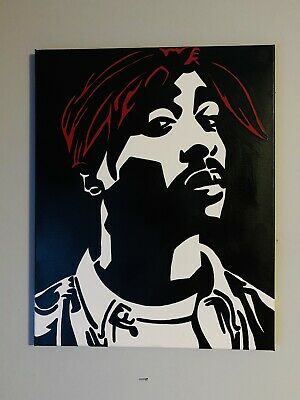 Hand painted art canvas 16x20 Inches TUPAC Acrylic painting Black /& White