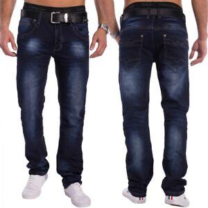 Mens-Regular-Fit-Jeans-Denim-dark-wash-dark-blue-trousers-stonewashed