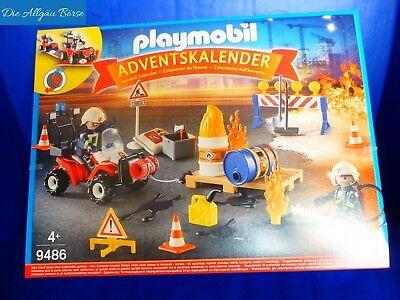 PLAYMOBIL® 9486 Adventskalender OVP Feuerwehreinsatz auf der Baustelle NEU