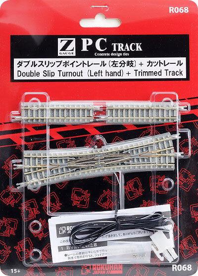 Rokuhan Z Scale R068 PC Double Slip Turnout LH Concrete