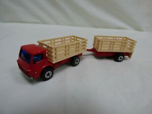 Vintage-1976-Lesney-Matchbox-Superfast-N-71-Cattle-Truck-With-Trailer-Toy-Truck