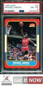 1986 FLEER #57 MICHAEL JORDAN RC BULLS HOF PSA 8 A3156235-630