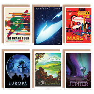 NASA-Space-Travel-Grand-Tour-Mars-Assorted-Greeting-Cards-Birthday-Pack-of-6