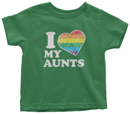I Love My Aunts Toddler T-Shirt Niece Nephew Rainbow Heart Gay Pride