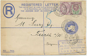 GB 1897 uprated QV 2 D registered env WILLY JACOBY PHILATELIST / STAMPDEALER