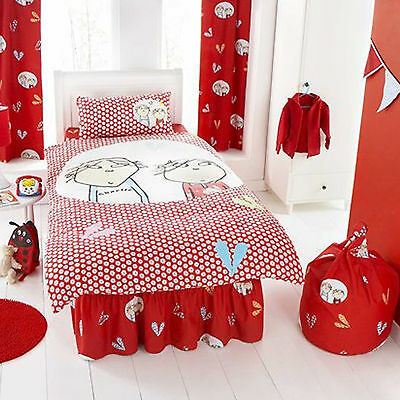 Charlie and Lola Red Curtains Pair 66 x 54 OFFICIAL
