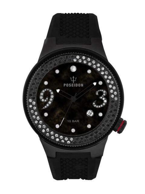 POSEIDON Damen-Armbanduhr  Analog Silikonband UP00424 Schwarz UVP 159,- €