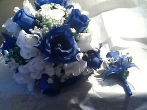 Royal blue and white wedding bouquet with boutonniere to match rush image is loading royal blue and white wedding bouquet with boutonniere mightylinksfo
