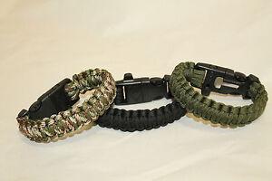 Lot of 3 Survival Paracord Bracelet Flint Fire Starter Scraper Whistle Gear 9''