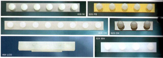or 8-LIGHT POLISHED BRASS WHITE Kichler NEW 4- WALL Bath FIXTURE Bar STRIP 3-