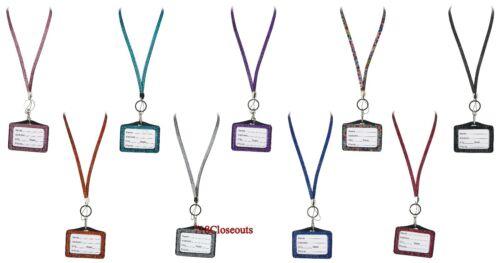 Lanyard Sold Separately Rhinestone Bling Crystal Horizontal ID Badge Holder