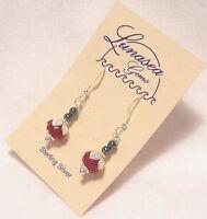 Lunasea Treasures Magyar Hungarian Kalocsa Flower Bead Sterling Silver Earrings