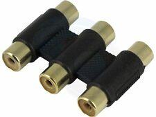 3 RCA AV Joint Straight Plug Jack Adapter Connector Coupler AV Cable