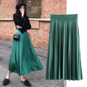 buy online 4b822 93715 Dettagli su gonna lunga amplia pieghe verde morbida moda evento G186