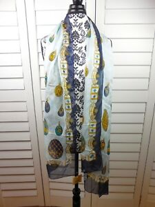 NEW-Les-Copains-Ornament-Scarf-Blue-Gold-Green-Womens-Casual-Chic-Ladies-150