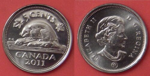 Brilliant Uncirculated 2011 Canada 5 Cents From Mint/'s Roll