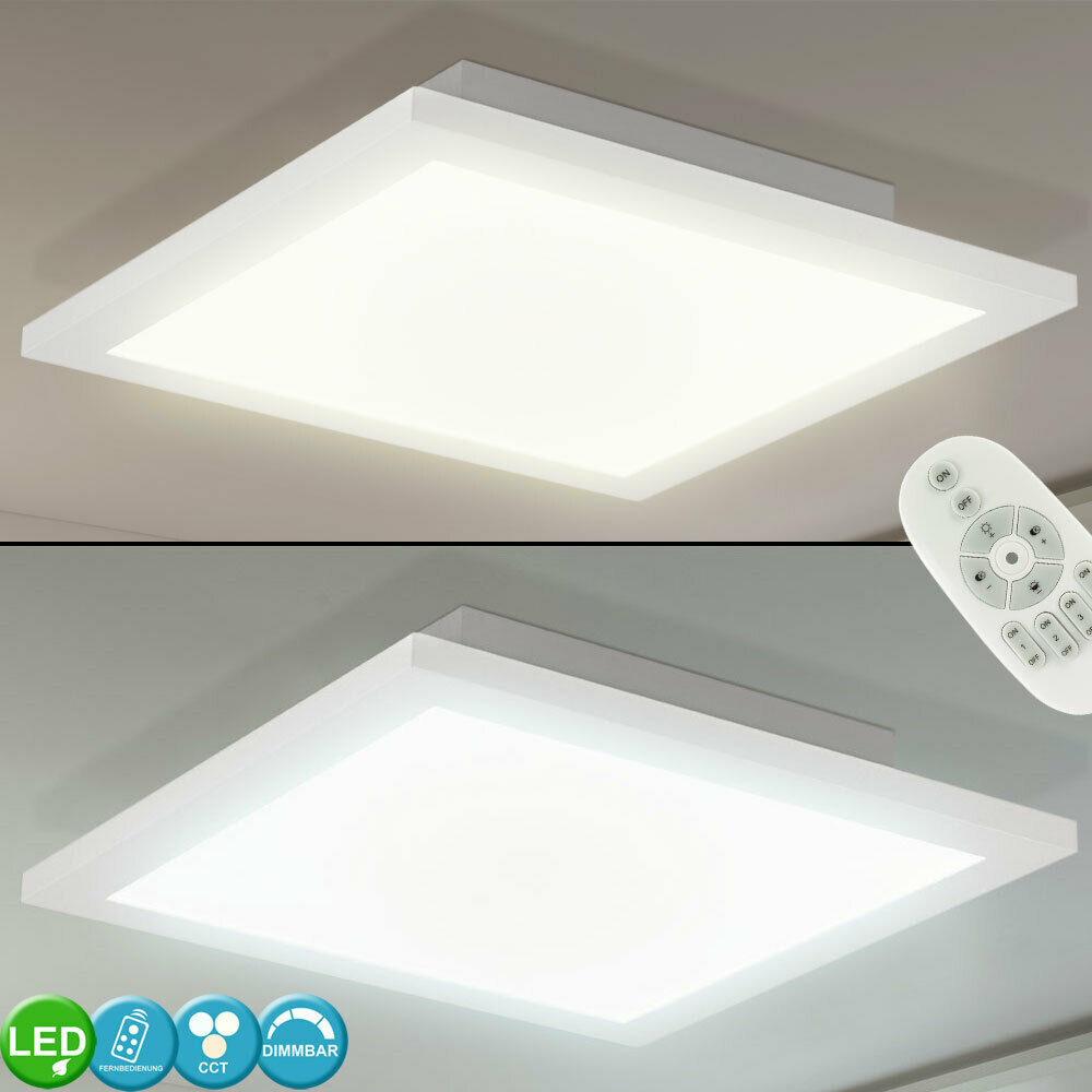 LED Ein Aufbau Decken Lampe ALU Panel DIMMER Fernbedienung Tageslicht Leuchte
