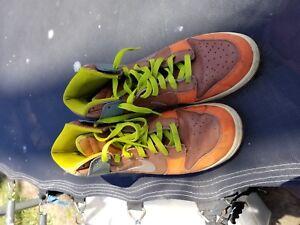 save off fa92d 62f91 Image is loading vintage-nike-SB-hi-tops-brown-orange-leather-