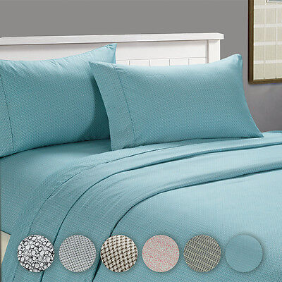 4-Piece Set: Cozy Homes Ultra-Soft Deep Pocket Printed Bed Sheets