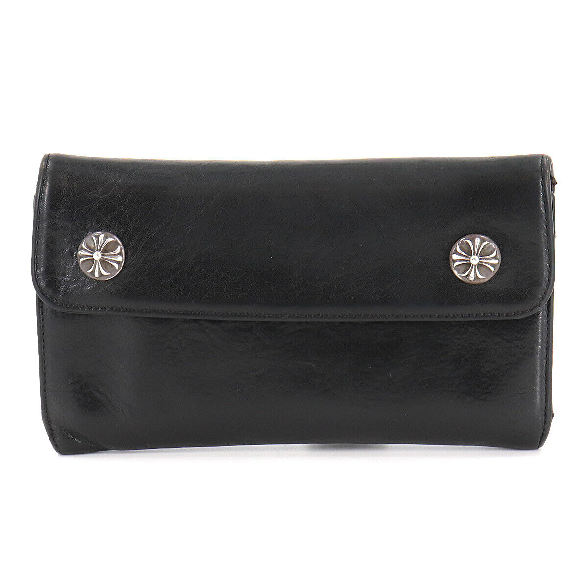 CHROME HEARTS Wave Wallet Long Leather Black Silver Purse 90119835