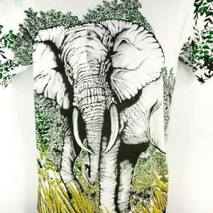 Elephant-T-Shirt-Vintage-90s-All-Over-Print-Jungle-Made-In-USA-Size-Medium
