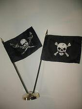"Brethren of the Coast w/ Crossbones Pirate Flag 4""x6"" Desk Set Gold Base"