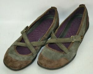 Privo-by-Clarks-Suede-Leather-Mary-Jane-Loafers-Shoes-Womens-Size-9-M-Brown-Gray