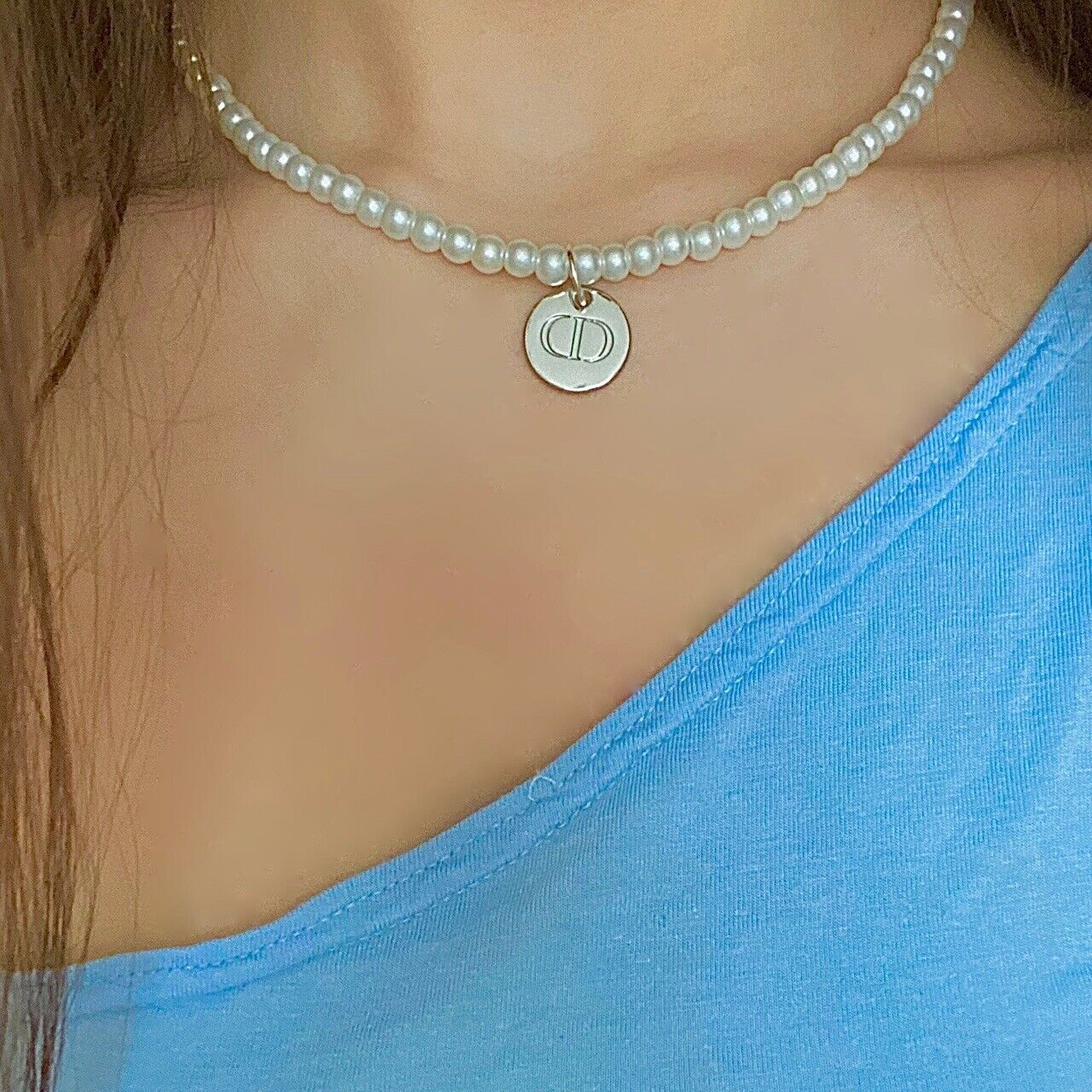 Genuine reworked Christian Dior 'CD' silver engraved charm pearl necklace
