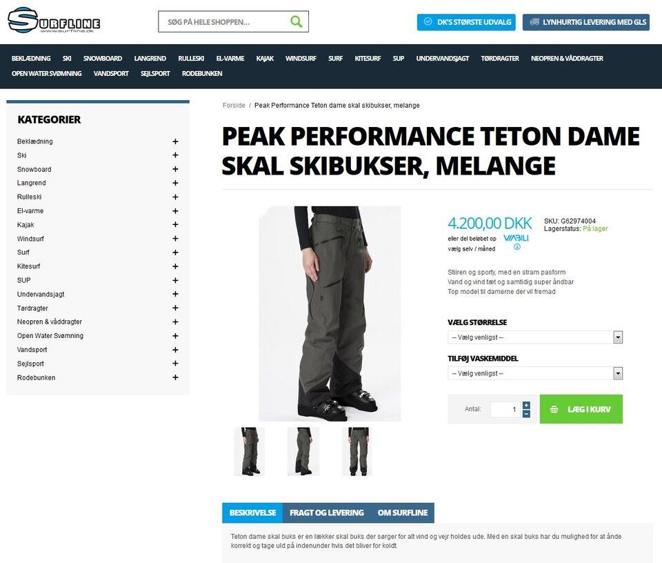 Skibukser, Peak Performance, str. large