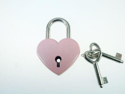 Pack of 10 Pink Antique Vintage Style Padlock Key Locks
